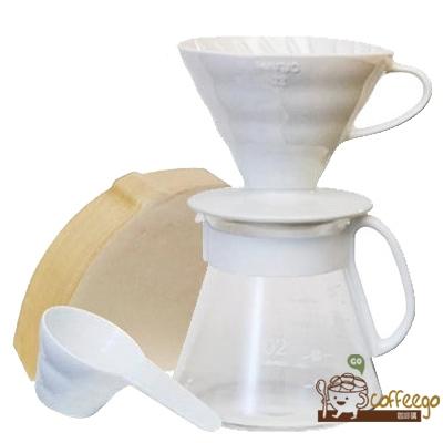 《HARIO》V60白色濾杯咖啡壺組 2~5杯 XVDD-3012W