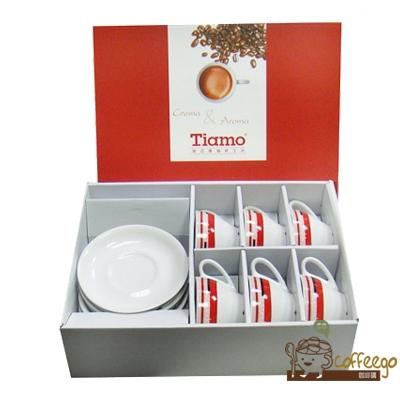 【Tiamo】卡布咖啡杯盤組200cc(白底紅邊)6客組/HG3335 HL-60366