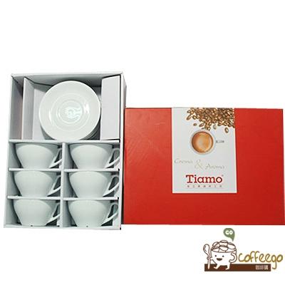 【Tiamo】卡布咖啡杯盤組200cc(白胚)6客組/HG3333 HL-60366W