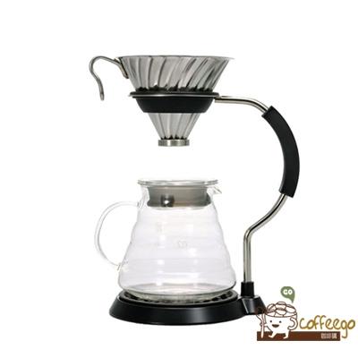 《HARIO》V60金屬濾杯支架咖啡壺組 / VAS-8006-HSV