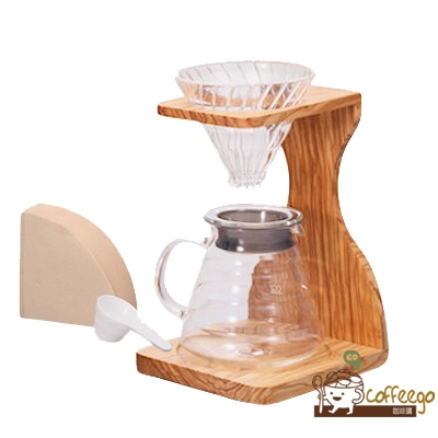 《HARIO》V60玻璃濾杯木架咖啡壺組 /  VSS-1206-OV