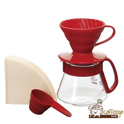 《HARIO》V60紅色濾杯咖啡壺組 1~2杯 VDS-3012R