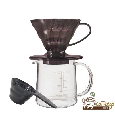 《HARIO》V60黑色樹脂濾杯咖啡壺組 1杯份 ESD-01TB-EX-M