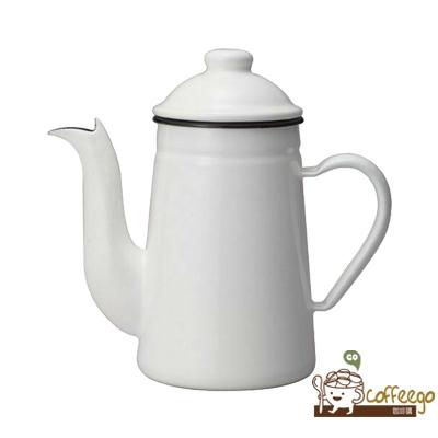 【全新庫存品出清】【Kalita】咖啡達人鶴嘴琺琅瓷手沖咖啡壺 / 1L(白色)